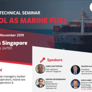 Methanol As Marine Fuel Seminar – 8-Nov-2019 ( Fri, 1300 Hours ) at St. Regis Singapore