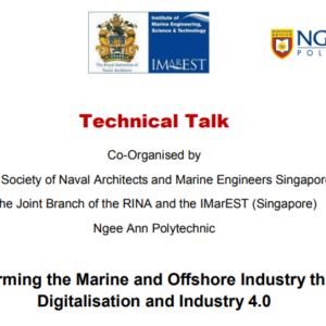 Transforming the Marine and Offshore Industry through Digitalisation and Industry 4.0 – 16-Jan-2020 ( Thu, 1830 Hours ) at Ngee Ann Polytechnic