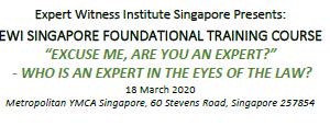 Expert Witness Institute Singapore course on Wed 18 Mar 2020 at YMCA