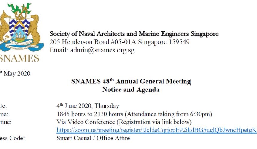 SNAMES 48th Annual General Meeting