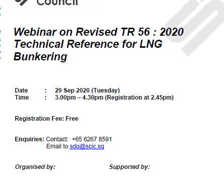 Webinar on Revised TR 56 : 2020 Technical Reference for LNG Bunkering