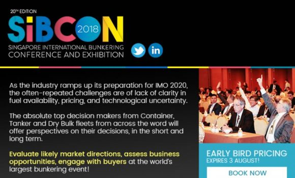 20th Edition Singapore International Bunkering Conference and Exhibition (SIBCON) 2018 (02 – 05 October 2018)